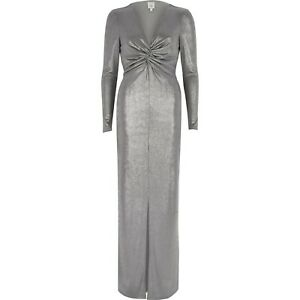 Details About River Island Silver Maxi Dress Size 14 Wedding Prom Party Ball Cruise Ball New