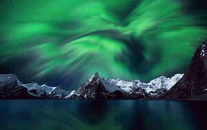 Image Is Loading Framed Print The Northern Lights Norway Mountain Aurora