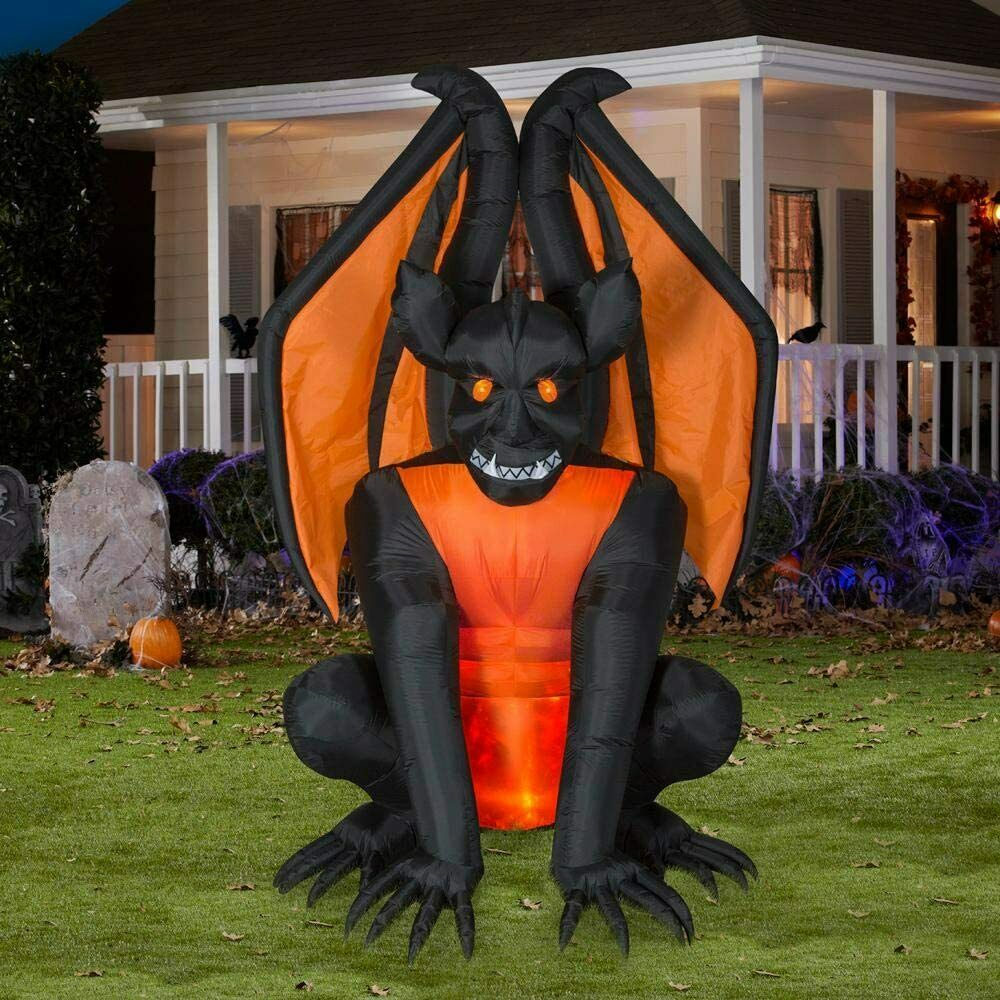 Gemmy 8.3 ft. Pre-Lit Inflatable Fire and Ice Gargoyle