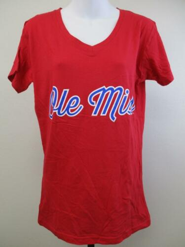 New Ole Miss Rebels Womens Sizes S-M-L Red V-Neck Shirt