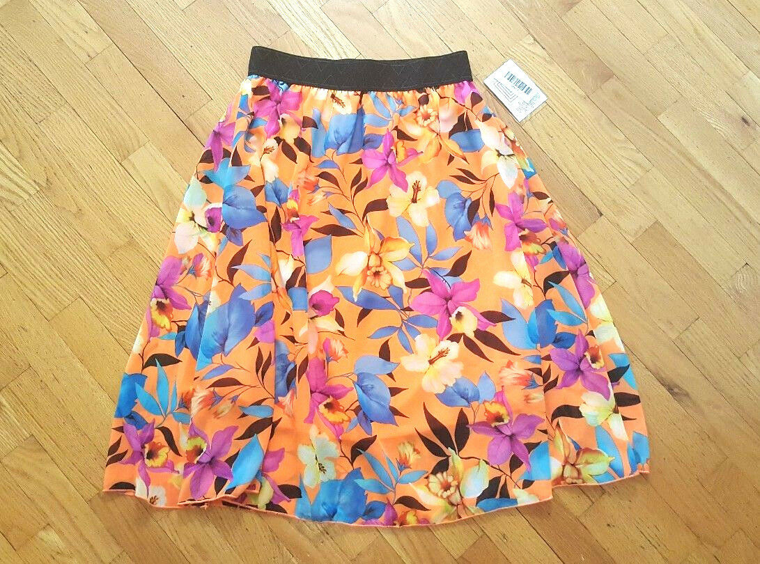 LuLaRoe Skirt Lola Floral Flowers Sheer orange Size Small