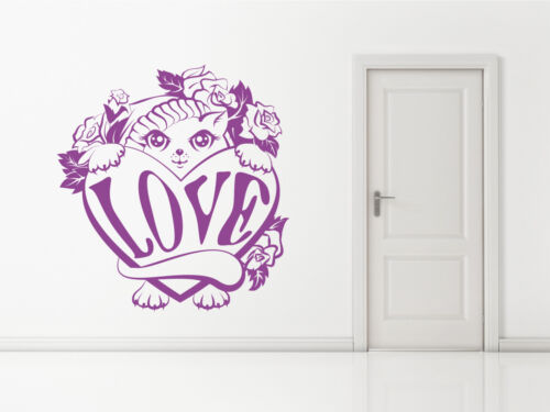 Any Colour or Size Wall sticker decal art Kitten Cat Pet Love Heart Decoration
