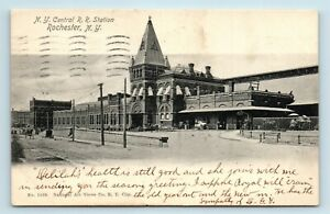 Rochester-NY-c1904-TRAIN-STATION-DEPOT-STREET-SCENE-amp-CARRIAGES-POSTCARD