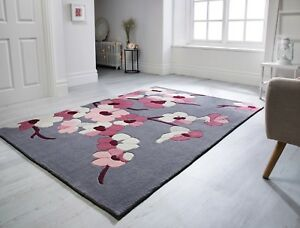 Infinite-Blossom-Charcoal-Grey-Pink-Floral-Rug-in-various-sizes-and-circle