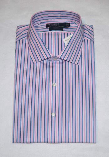 Polo Ralph Lauren PINK BLUE STRIPED CUSTOM FIT SPREAD COLLAR DRESS SHIRT NWT