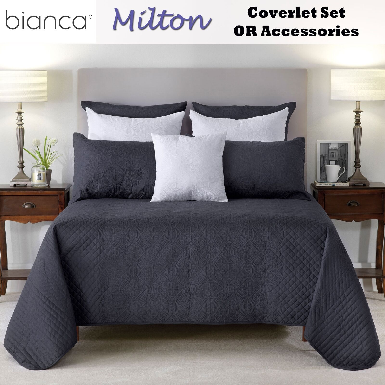 Milton Embroidered Coverlet with Pillowcase(s) OR Accessories by white