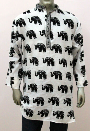Men's 100/% Cotton Elephant Print Tunic Kurta Shirt Plus Size Black White Color