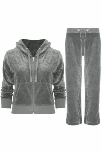 New Womens Full HOODED Ladies Velour Tracksuit Yoga Sport Jogging Gym Suit