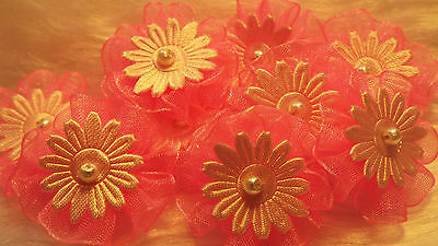 5pcs-Candy Pink - Organza Ribbon Flowers  Appliques,Trimmings ,Wedding- 30mm