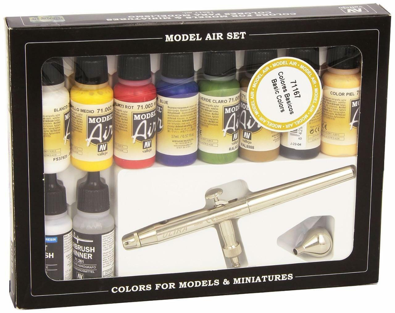 Vallejo Model Air Basic colors w  Airbrush Paint Set VAL 71167