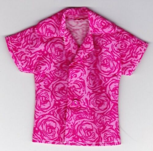 Bright Pink Swirl Print Shirt That Fits Ken Doll-Homemade B3