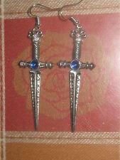 ANTIQUE PEWTER SWORD DAGGER BLUE CRYSTAL FANTASY MEDIEVAL WICCAN PAGAN EARRINGS