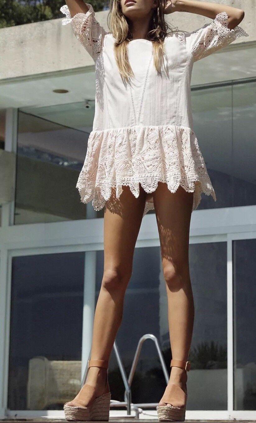 NWT Anthropologie Suboo Prairie Mini Dress Größe 10 Peach Broderie Anglaise