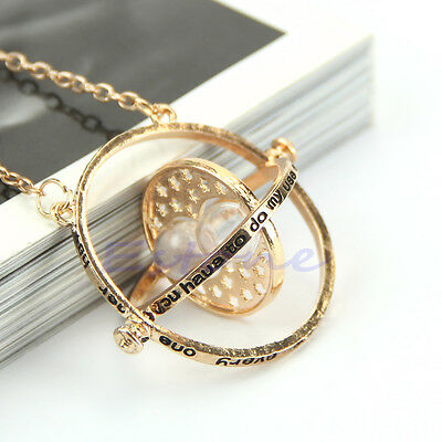 Time Turner Gold Hourglass Necklace Hermione Granger Rotating Spins