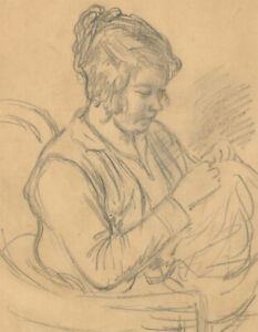 Harold-Hope-Read-1881-1959-Graphite-Drawing-Hilda-Sewing