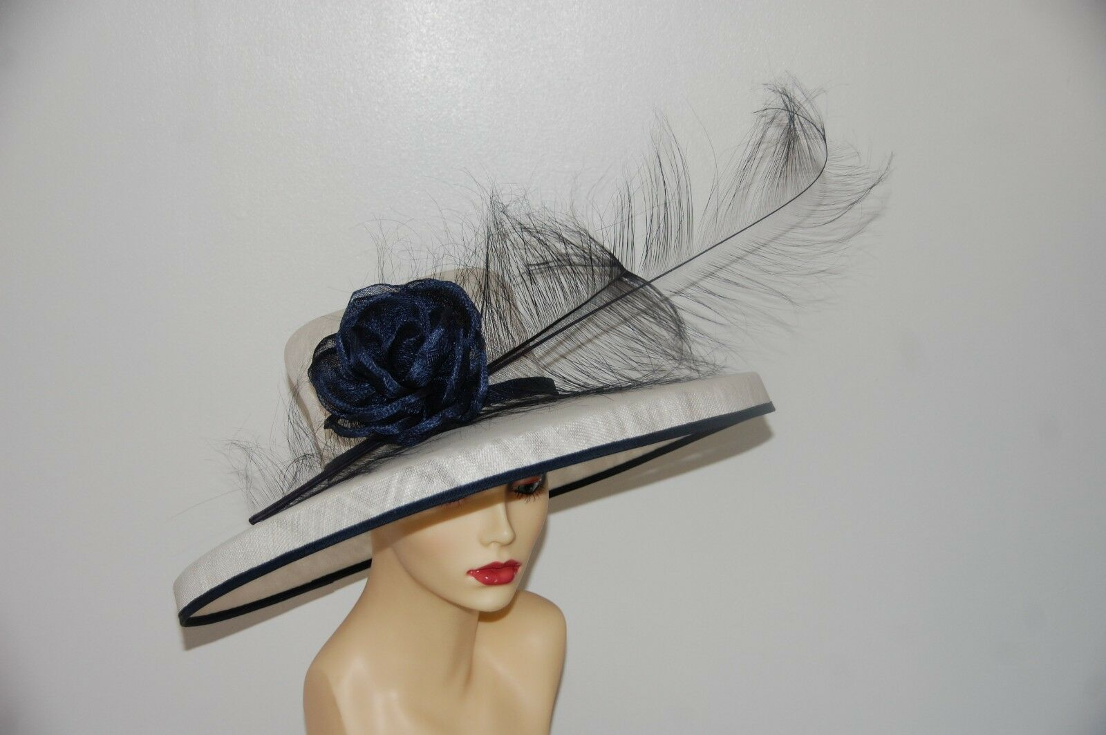 IVORY & NAVY DETAILED CROWN FEATURE HAT BY HATS2GO NO RETURN Made to Order