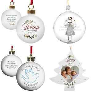 image is loading personalised in loving memory christmas remembrance tree bauble - Christmas Decorations In Memory Of A Loved One