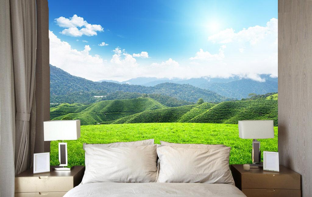 3D Verde Montagna Parete Murale Foto Carta da parati immagine sfondo muro stampa