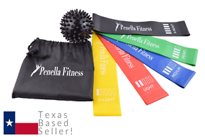 Penella-Fitness-Resistance-Loop-Bands-Mini-Set-Of-5-For-Legs-Glutes-amp-Spiky-Ball