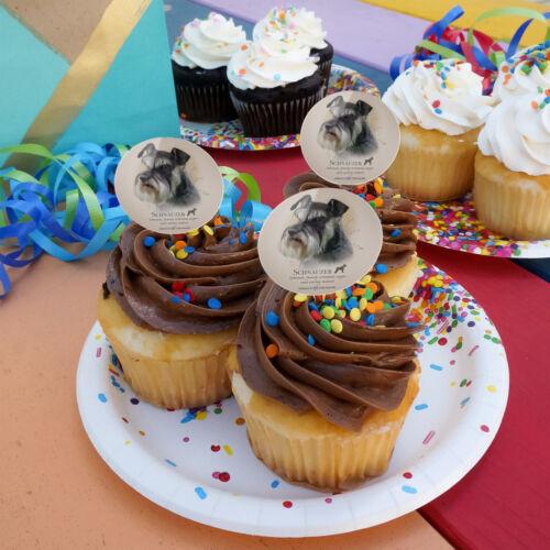 Schnauzer Dog Breed Cupcake Picks Toppers Decoration Set of 6