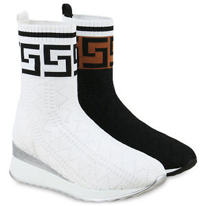 Keilabsatz Sneaker 825832 Sockenschuhe Details Strick Zu Wedges Schuhe Damen Turnschuhe mNO8n0yvw