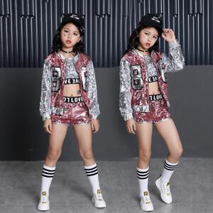 6a8ddf8f4018 Image is loading Street-Dance-Wear-Costume-Girls-Performance-Sequins-Modern-