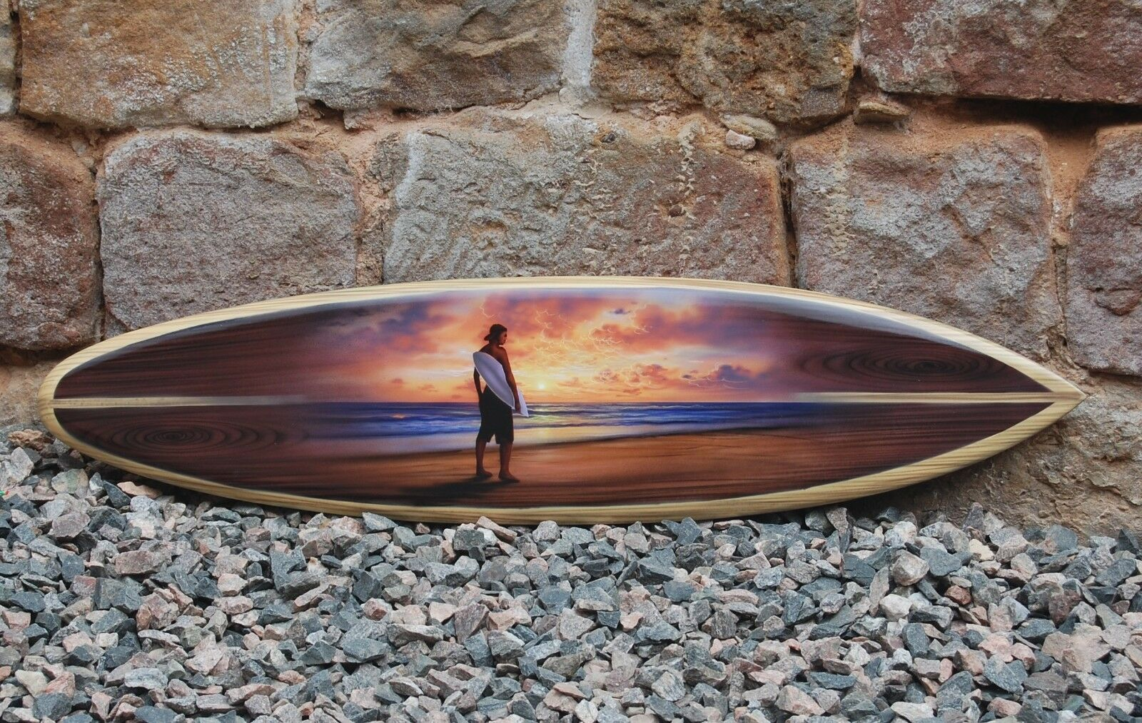 BRAND NEW ORNAMENTAL SOLID WOOD 100cm SURFBOARD SURFER SUNSET DESIGN   su100E6