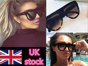 73a07b9ec25 Image is loading Womens-Designer-Oversized-Sunglasses-Flat-Top-Vintage- Shadow-