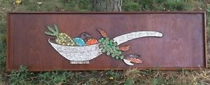 Vintage 60s Abstract Fruit Basket Tile Mosaic Wall Hanging Mid Century Modern
