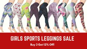 Girls Leggings Sports Gym Printed Ankle Length Legging 3-12 Yrs Premium Brand