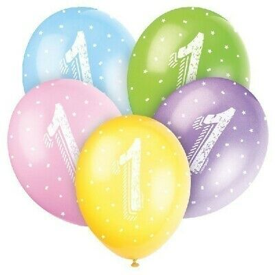 """5 x Age 1 Helium Quality 12/"""" Latex Balloons Party Decoration Mixed1st Birthday"""