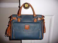 Dooney & Bourke Leather Medium Pocket Satchel W/ Accessories Teal-