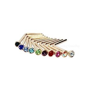 """Stainless Steel 2mm Gem Fishtail Nose Pin U Bend Nose Ring 5//8/"""" 10 pc 20G 16mm"""