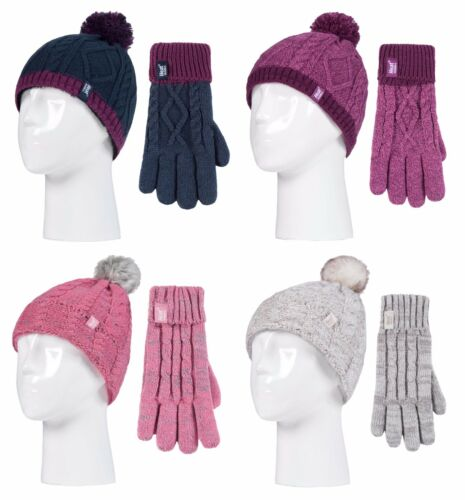 Childrens Girls Knit Winter Thermal Ski Bobble Hat and Gloves Set Heat Holders