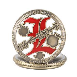 Copper Death Note Apple Men Boy Quartz Pocket Watch 80cm Pendant Chain Gift