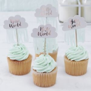Cupcake Toppers Rose Gold Cloud Baby Shower Decoparty Tableware