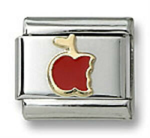 18k-Gold-Italian-Charm-Enamel-Red-Apple-9mm-Modular-Link-Bracelet-Free-Shipping