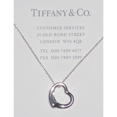 Tiffany & Co Elsa Peretti Sterling Silver 16mm Open Heart Pendant Necklace