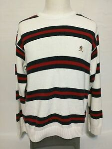 Vintage Tommy Hilfiger Color Block Striped Red White Blue Sweater