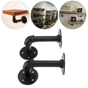 2x-100kg-220lbs-Vintage-Iron-Industrial-Pipe-Shelf-Bracket-DIY-Holder-Home