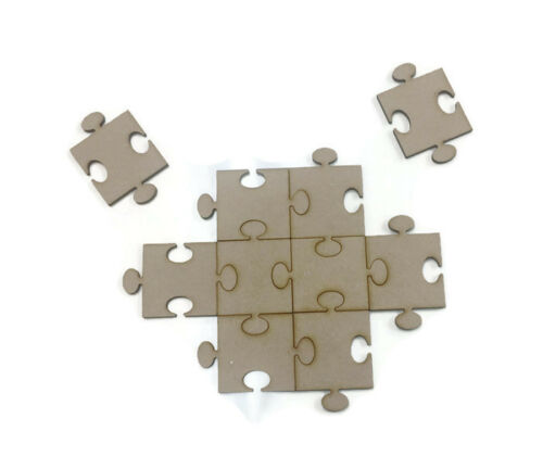 10 x MDF Wooden Jigsaw Shapes 3mm MDF 40mm x 40mm