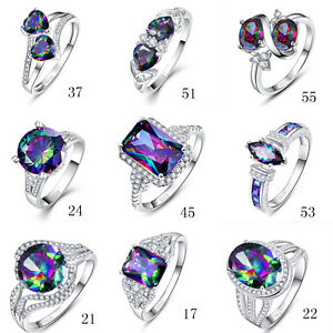 Free-Jewelry-Box-Rainbow-Topaz-100-S925-Sterling-Silver-Ring-Size-L-N-P-R