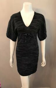 9504c7d00b Details about Stunning Max Studio Black Heather Marled Dolman Tie Waist Sweater  Dress Size XS