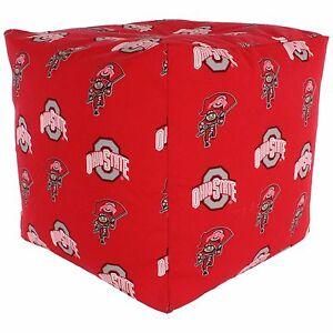 Ohio State Buckeyes Ncaa Licensed Cube Cushion Pouf Chair Bean Bag