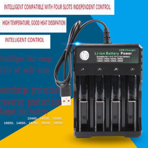 USB Li-ion Battery Charger 14500//16340//18650//26650//AA//AAA// Universal 4 Slot