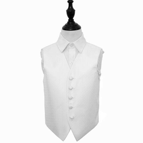 DQT Woven Greek Key Patterned Ivory Boys Wedding Waistcoat 2-14 Years