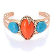 De Buman 18k Rose Gold Plated Create Turquoise or Red Coral Bangle Bracelet