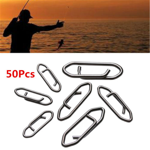 50PCS Stainless Steel Fishing Hanging Snap Barrel Swivel Connector Fast Lock