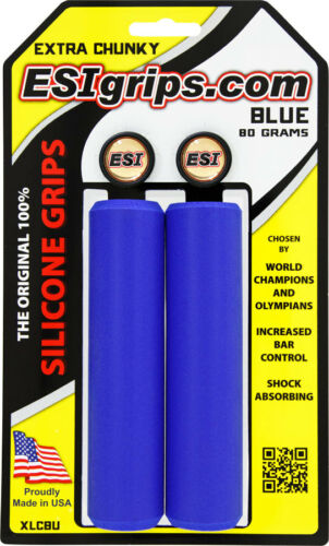 ESI Extra Chunky 34mm Blue Silicone Bicycle Grips Made In The USA