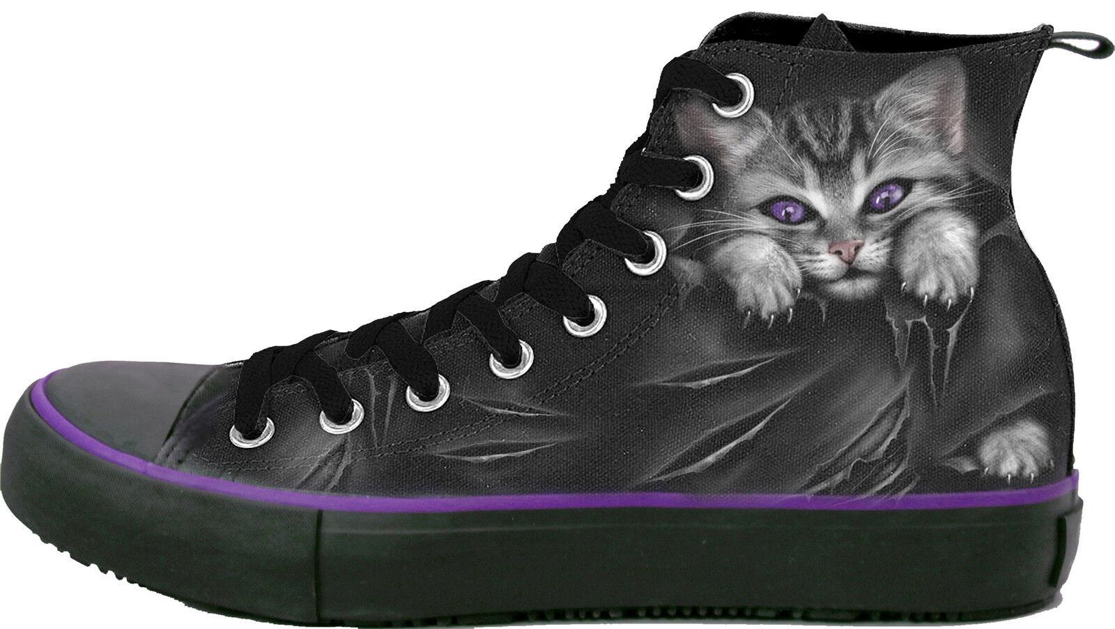 Spiral Direct BRIGHT EYES scarpe da ginnastica - Ladies High Top Laceup Cute Rips Goth scarpe